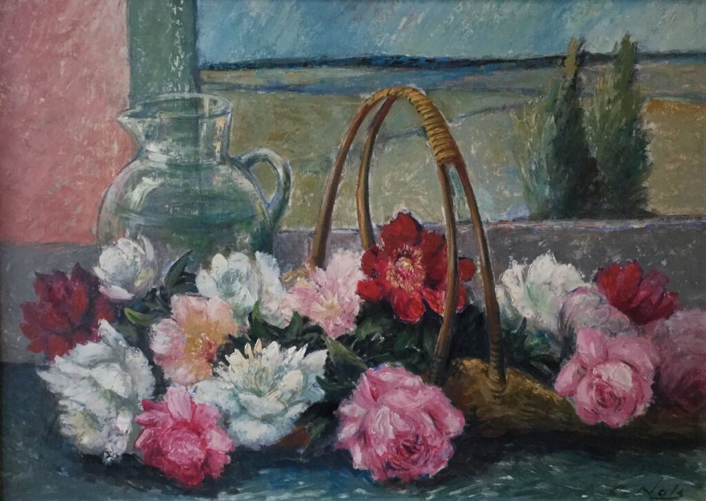 Schilderijen te koop van kunstschilder Arthur Nols Stilleven met kan en mand olie op board, boardmaat 50 cm x 70 cm rechtsonder gesigneerd, Expositie Galerie Wijdemeren Breukeleveen