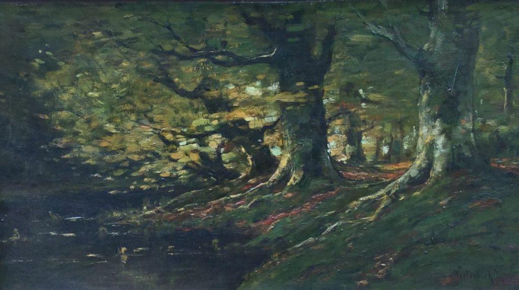 Kunst te koop bij Galerie Wijdemeren van kunstschilder Cornelis Westerbeek jr. Vennetje in het bos olie op doek, 24.5 x 42.5 cm rechtsonder gesigneerd