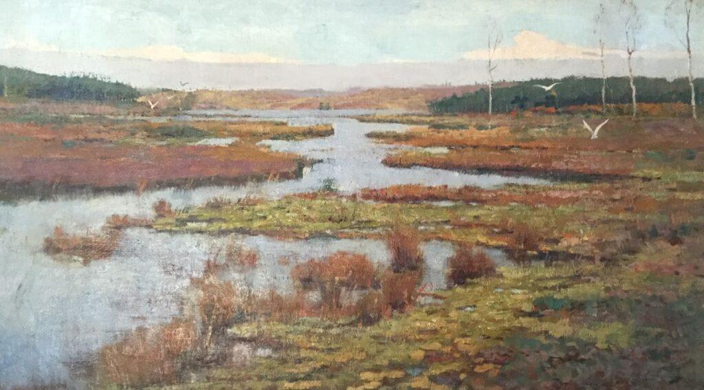 Kunstenaar Eugene Lucker C3565W, Eugene Lucker Heidelandschap met ven 50 cm x 87 cm, gesigneerd r.o.  Verkocht