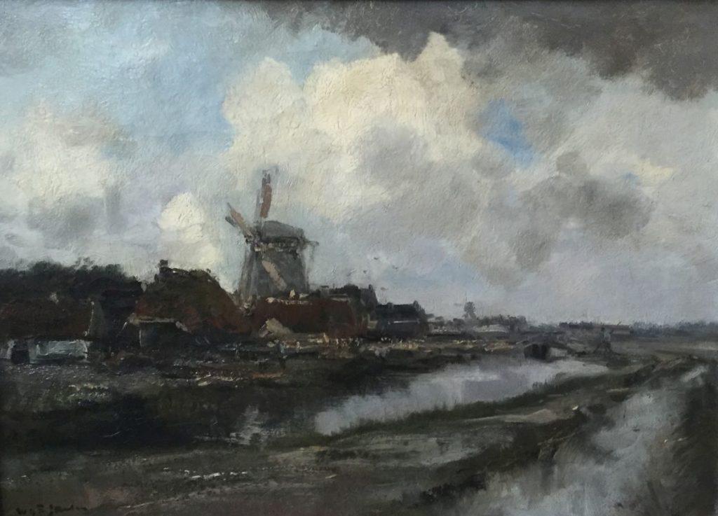 Kunstenaar Willem George Frederik Jansen C3567 Willem George Frederik Jansen Dorpsgezicht met molen langs de vaart olie op doek, doekmaat 40 x 55,5 cm linksonder gesigneerd verkocht