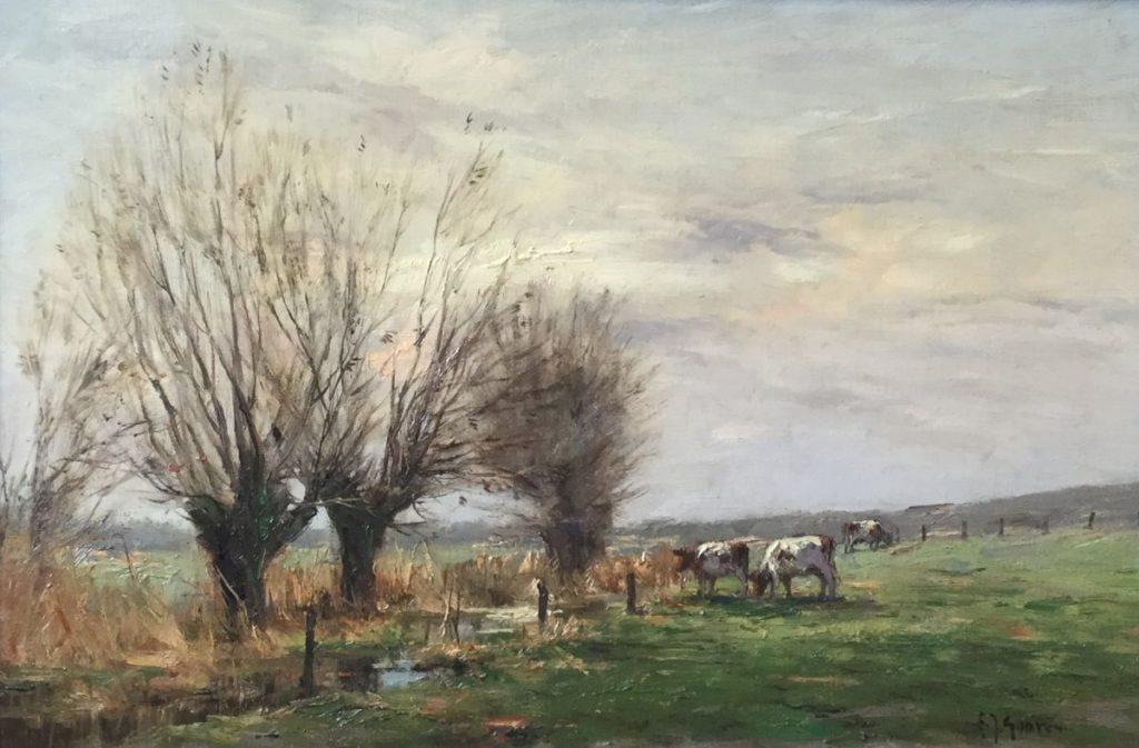 Schilderijen te koop van kunstschilder F.J. Goosen Landschap met koeien olie op doek, 40 x 60 cm r.o. gesigneerd, Expositie Galerie Wijdemeren Breukeleveen