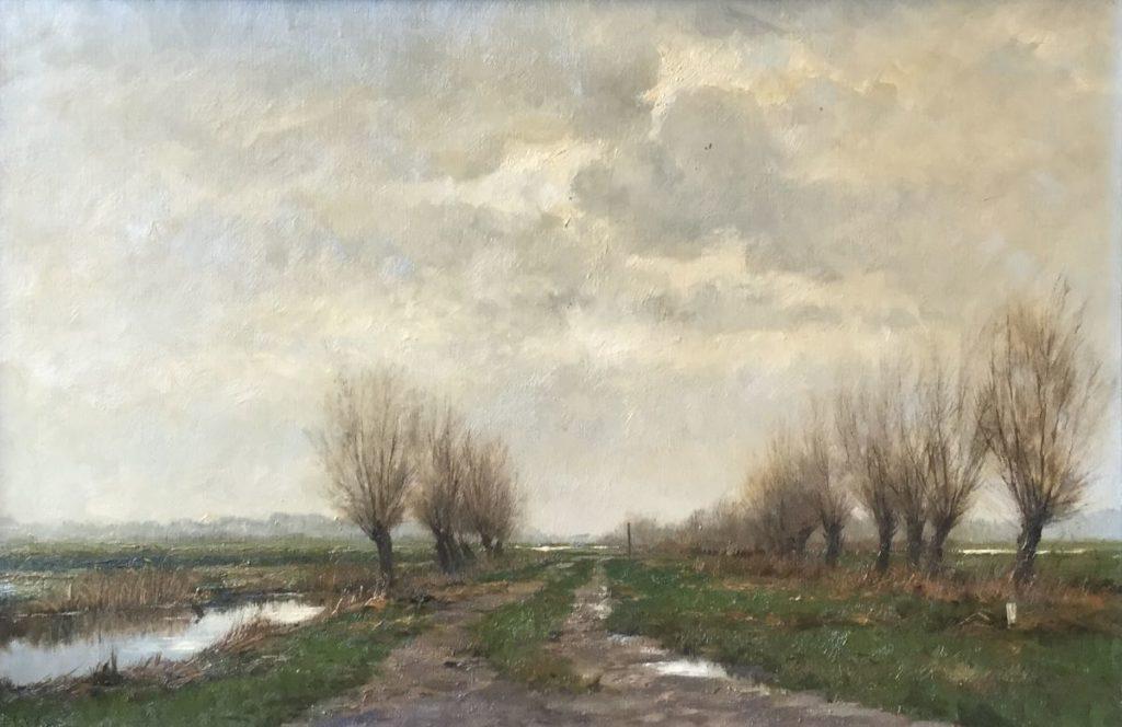 Schilderijen te koop van kunstschilder F.J. Goosen Landschap met knotwilgen 40 cm x 60 cm, olie op doek l.o. gesigneerd, Expositie Galerie Wijdemeren Breukeleveen
