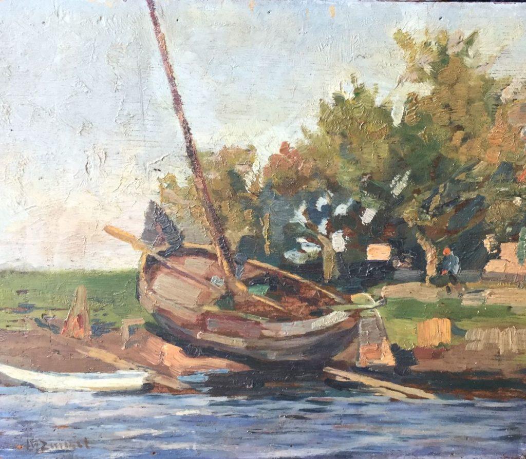 Schilderijen te koop van kunstschilder Vissersboot op het droge Olie op paneel, paneelmaat 24 x 28 cm linksonder gesigneerd r.o. gesigneerd, Expositie Galerie Wijdemeren Breukeleveen