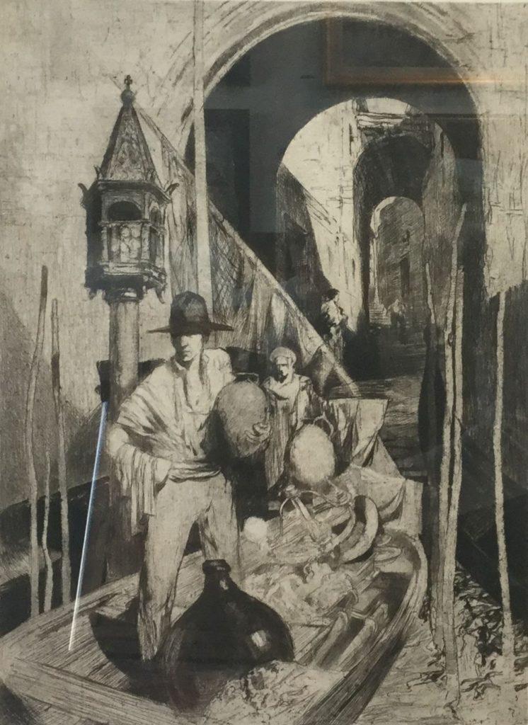 Schilderijen te koop van kunstschilder AJ van 't Hoff Varende koopman op de stadsgracht ets, beeldmaat 40 x 29,5 cm rechtsonder handgesigneerd, Expositie Galerie Wijdemeren Breukeleveen
