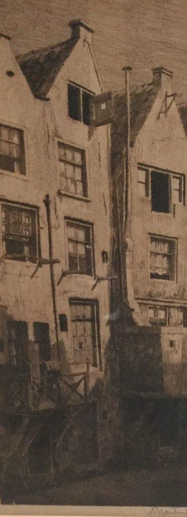 Schilderijen te koop, Grachtenpanden ets, beeldmaat 31.5 x 12 cm rechtsonder handgesigneerd, expositie Galerie Wijdemeren Breukeleveen