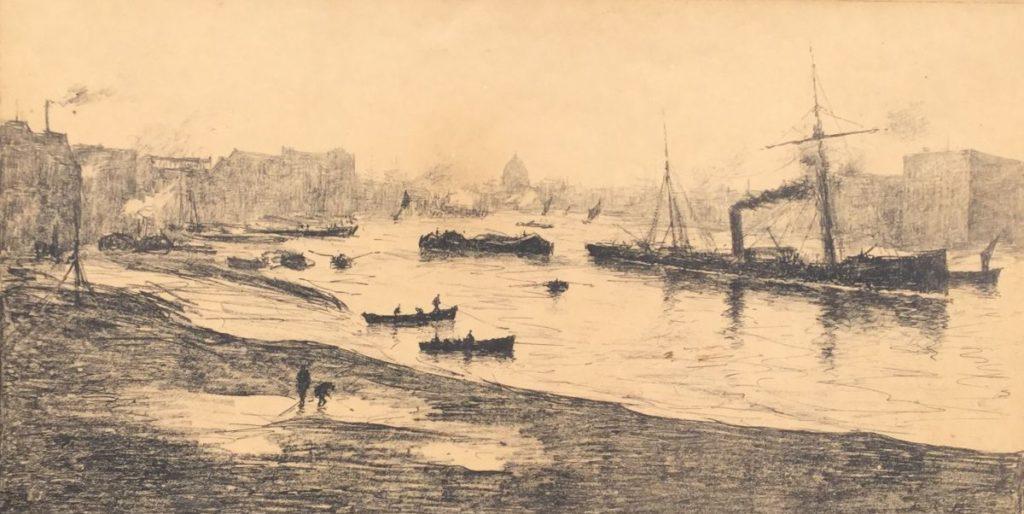 Kunst te koop bij Galerie Wijdemeren van Siebe ten Cate bootjes in riviermonding litho, beeldmaat 22,5 x 2,5 cm rechtsonder gesigneerd