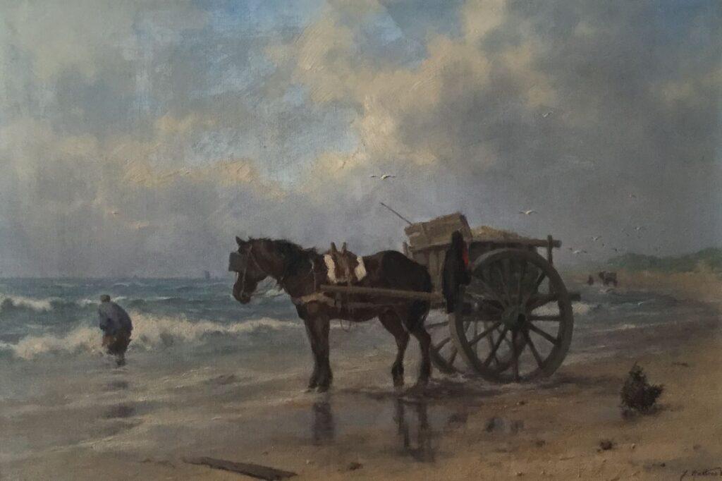 Kunstenaar Jan Holtrop C3576, Jan Holtrop Schelpenvisser Olie op doek verkocht