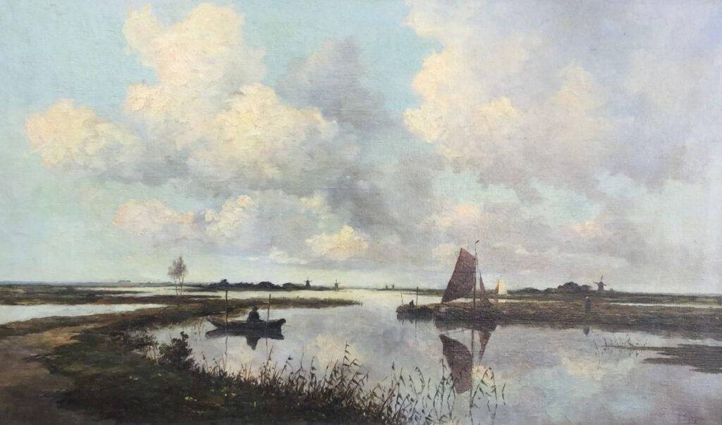 Schilderijen te koop van kunstschilder Marius de Jongere Bootje op de vaart olie op doek, 60x100 cm ro gesigneerd, Expositie Galerie Wijdemeren Breukeleveen
