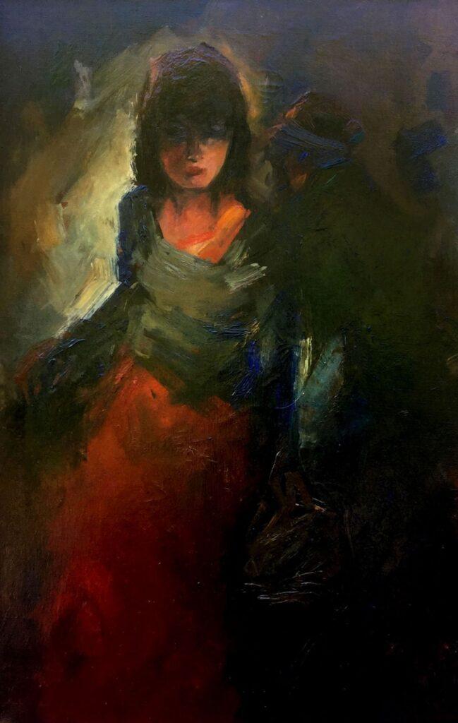 Kunstenaar Jan Rijlaarsdam C3589 Jan Rijlaarsdam Portret van een meisje olie op doek, 60 x 90 cm r.o. gesigneerd