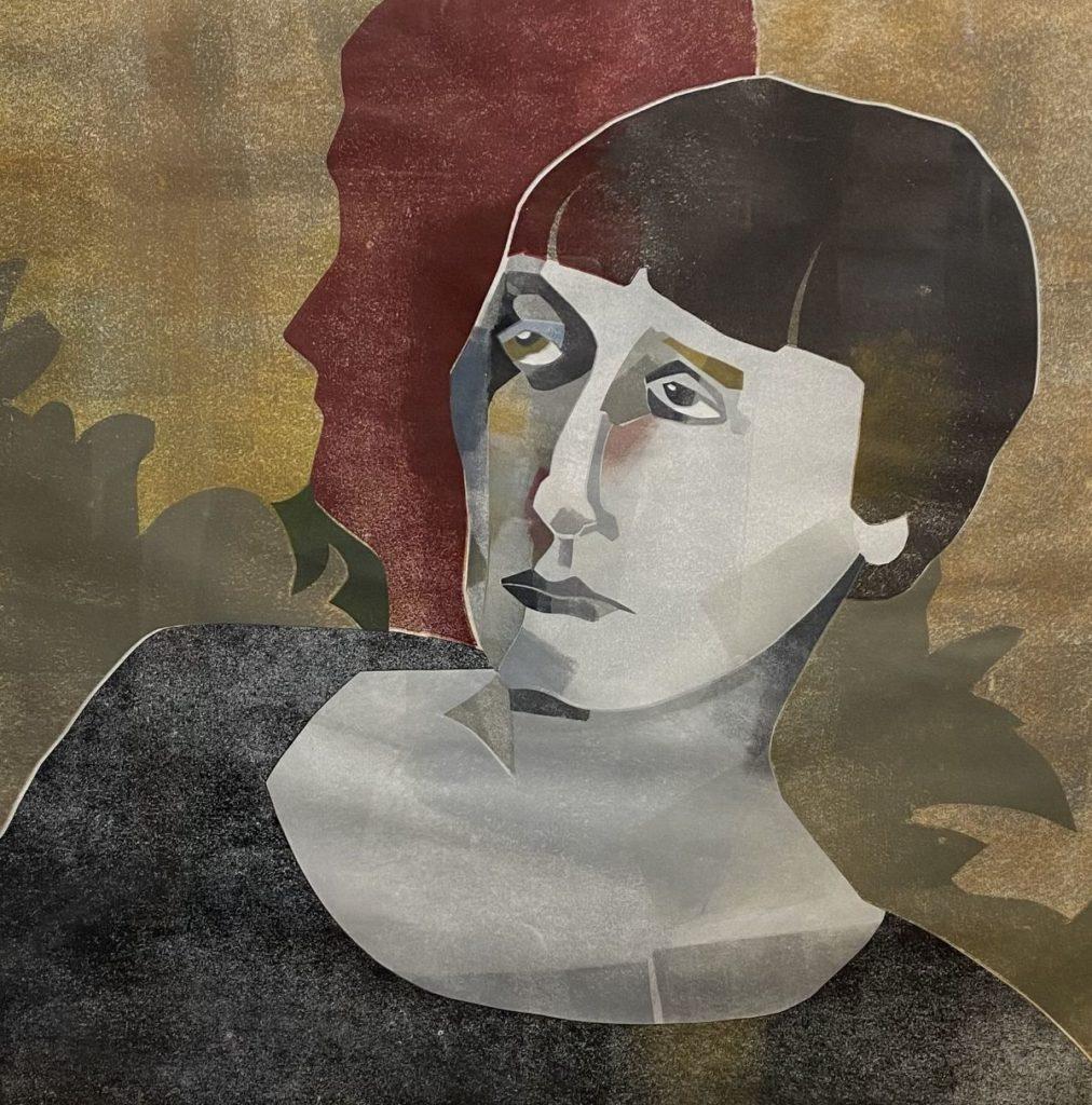 Kunst te koop bij galerie Wijdemeren van kunstenaar Nicole Montagne Portret van een dame zeefdruk, beeldmaat 52 x 52 cm gesigneerd en gedateerd r.o. 1992, oplage 5/5