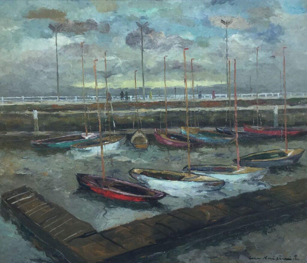 Kunstenaar Luc Kaisin C3604, Luc Kaisin Bootjes in de haven olie op doek, 60,5 x 70,5 cm r.o. gesigneerd Verkocht