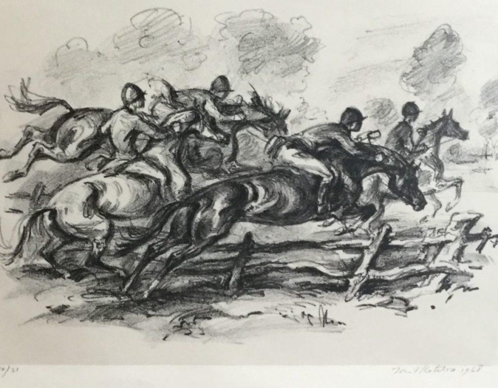 Schilderijen te koop, Paardenrace Litho, beeldmaat 14.5 x 20 cm gedateerd 1968, oplage 10/21 rechtsonder gesigneerd, expositie Galerie Wijdemeren Breukeleveen