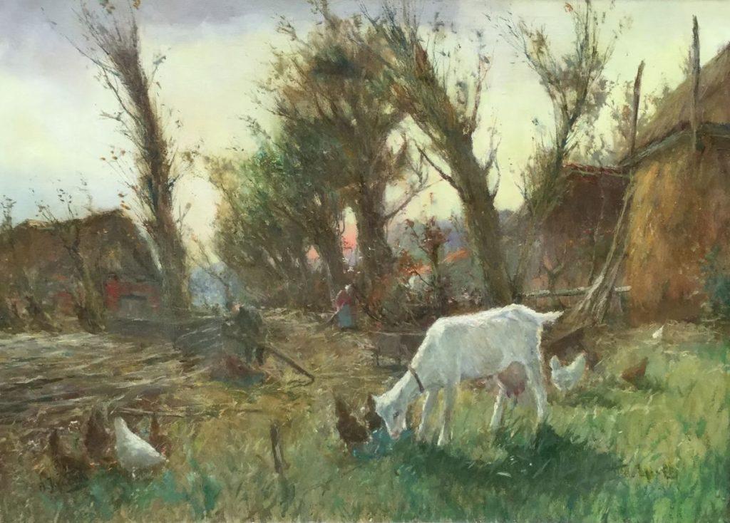 Kunst te koop bij galerie Wijdemeren van n. J. van Eck Geitje olie op doek, 50 x 70.5 cm rechtsonder gesigneerd