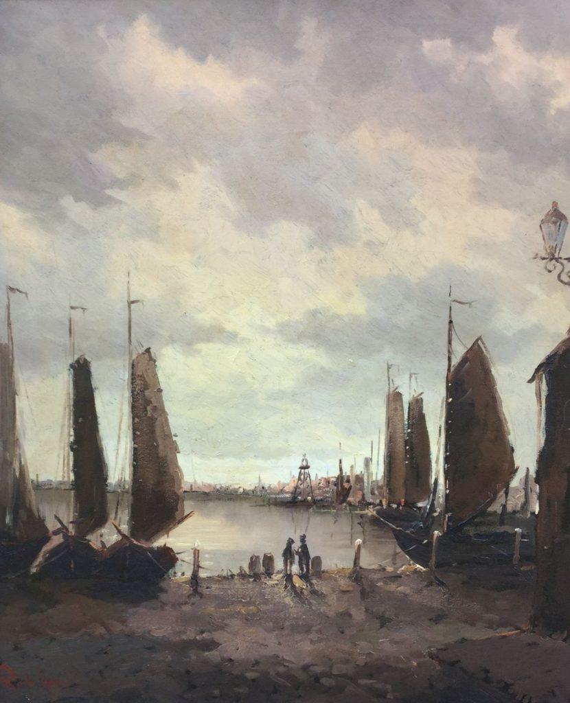 Schilderijen te koop van kunstschilder Rob de Haan havengezicht olie op doek, doekmaat 60 x 50 cm linksonder gesigneerd, Expositie Galerie Wijdemeren Breukeleveen