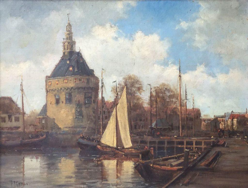 Kunst te koop bij Galerie Wijdemeren van kunstschilder F.J. Goosen Haven van Hoorn olie op doek, 30 x 40 cm l.o. gesigneerd