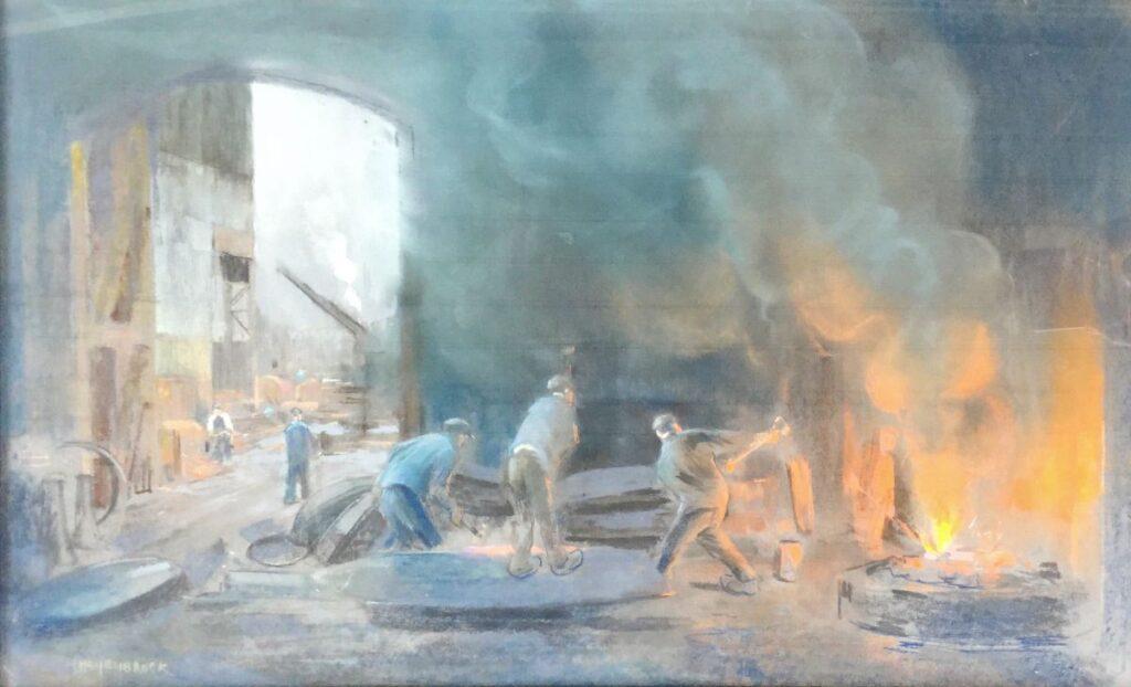 Schilderijen te koop van kunstschilder Herman Heijenbrock In de smederij pastel op papier, beeldmaat 56 x 93 cm linksonder gesigneerd, Expositie Galerie Wijdemeren Breukeleveen