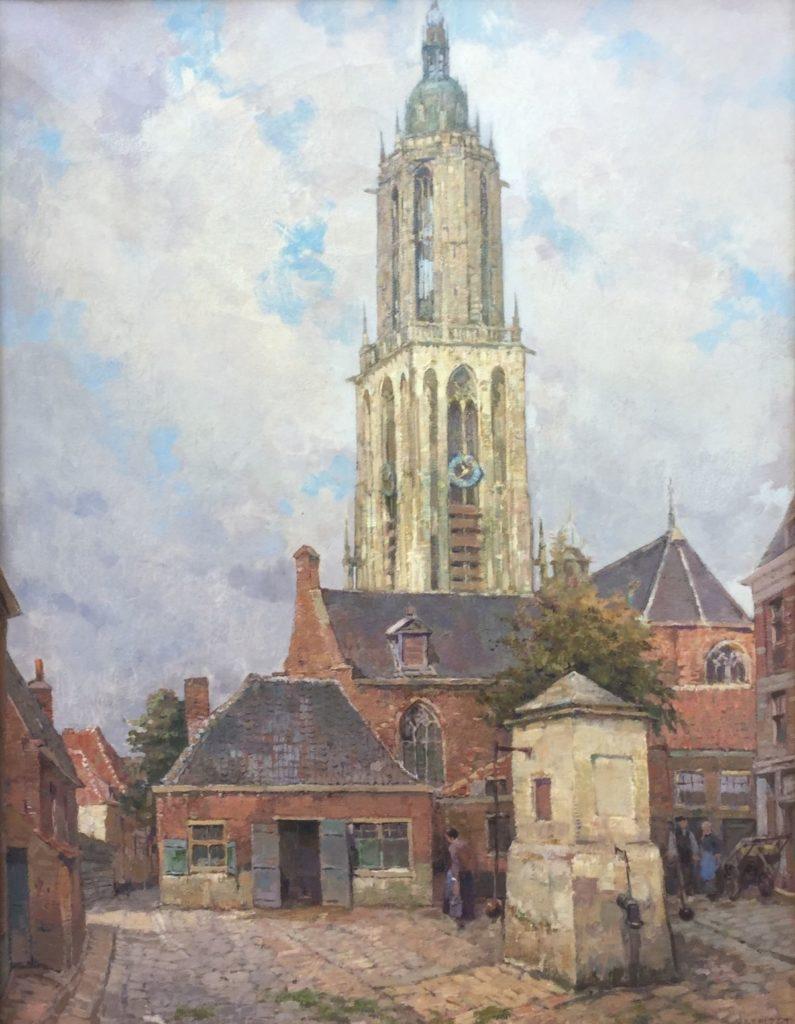 Schilderijen te koop van kunstschilder Dirk Jan Hazelzet Cunerakerk te Rhenen olie op doek, doekmaat 65 x 50 cm rechtsonder gesigneerd, Expositie Galerie Wijdemeren Breukeleveen