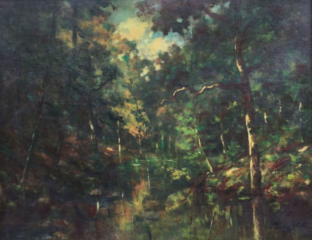 Schilderijen te koop van kunstschilder C3638 Bosgezicht olie op doek, doekmaat 70 x 90 cm Hollandse School, 20ste eeuw, Expositie Galerie Wijdemeren Breukeleveen