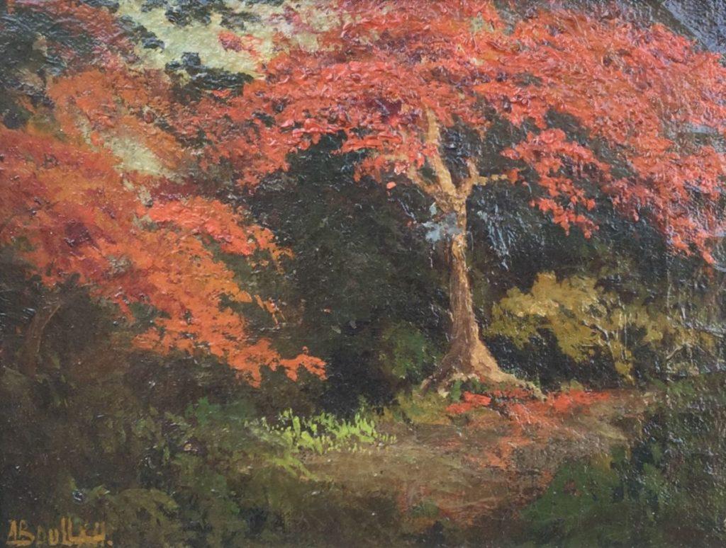 Schilderijen te koop van kunstschilder Soedjono Abdullah (1911-1991) Indisch Landschap met rode flamboyant boom linksonder gesigneerd, Expositie Galerie Wijdemeren Breukeleveen
