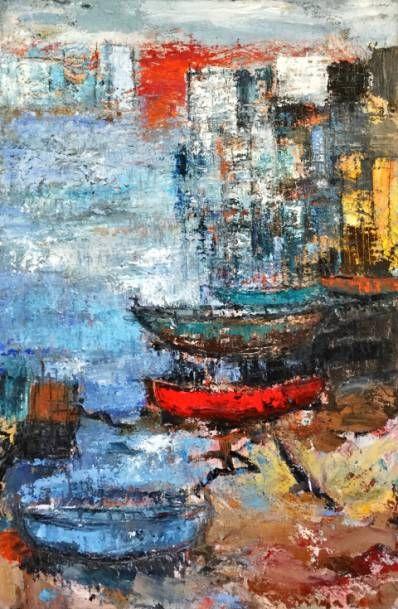 Kunstenaar Maja Boot C3643, Maja Boot Je woont in je hart gemengde techniek op doek 120 x 80 cm, r.o. gesigneerd