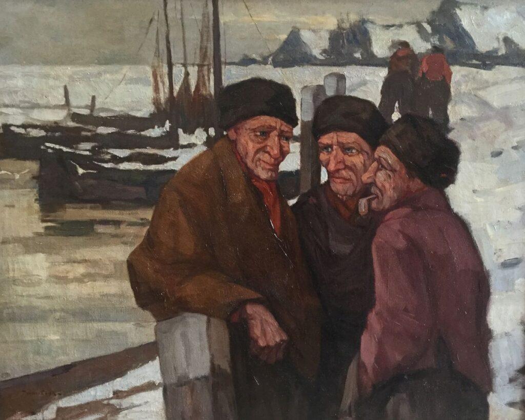 Schilderijen te koop van kunstschilder Willem Noordijk Volendammers olie op doek, 80 x 100 cm linksonder gesigneerd, Expositie Galerie Wijdemeren Breukeleveen