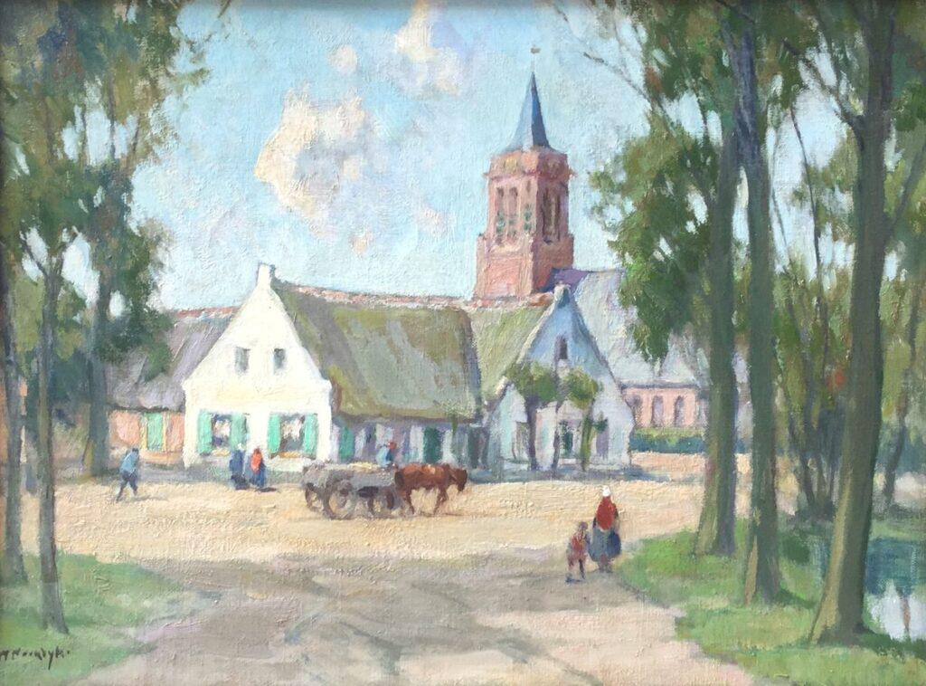 Schilderijen te koop van kunstschilder Willem Noordijk Dorpsgezicht Laren olie op doek, doekmaat 31 x 41 cm linksonder gesigneerd, Expositie Galerie Wijdemeren Breukeleveen
