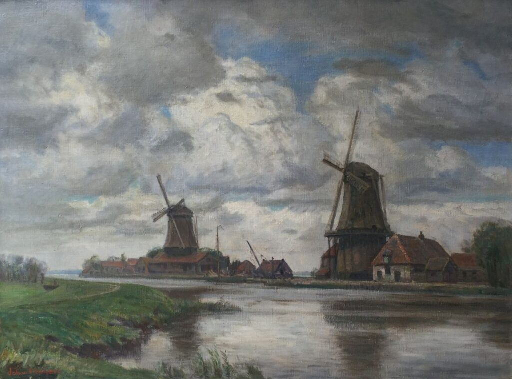 Kunstenaar Johan Meijer C3656, Johan Meijer Molens bij Weesp olie op doek, 81 x 61 cm linksonder gesigneerd