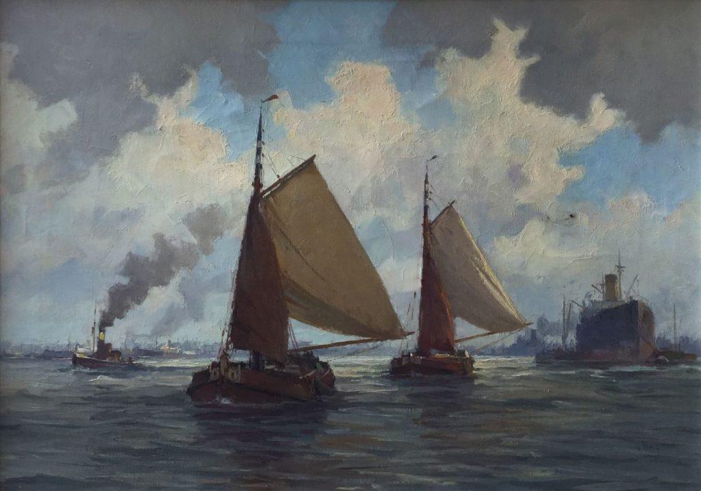 Schilderijen te koop, kunstschilder Gerard Wiegman Rollende Beurtvaarder olie op doek, 70,5 x 51 cm rechtsonder gesigneerd, Expositie Galerie Wijdemeren Breukeleveen