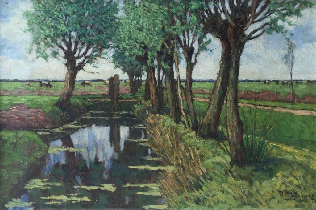 Schilderijen te koop van kunstschilder H.W. Schaap - van der Pek Wilgensloot olie op doek, doekmaat 50,5 x 35 cm rechtsonder gesigneerd, Expositie Galerie Wijdemeren Breukeleveen
