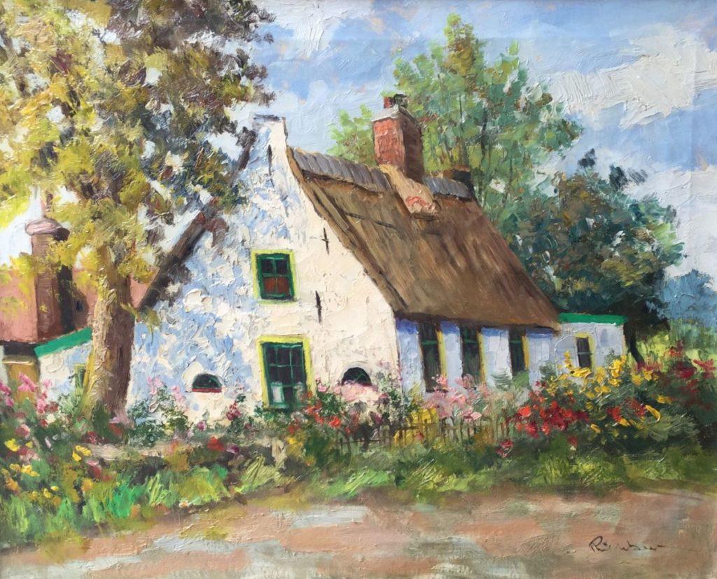 Schilderijen te koop van kunstschilder Potgieter boerderij met bloeiende tuin, olie op doek, doekmaat 40 x 50 cm rechtsonder gesigneerd, Expositie Galerie Wijdemeren Breukeleveen