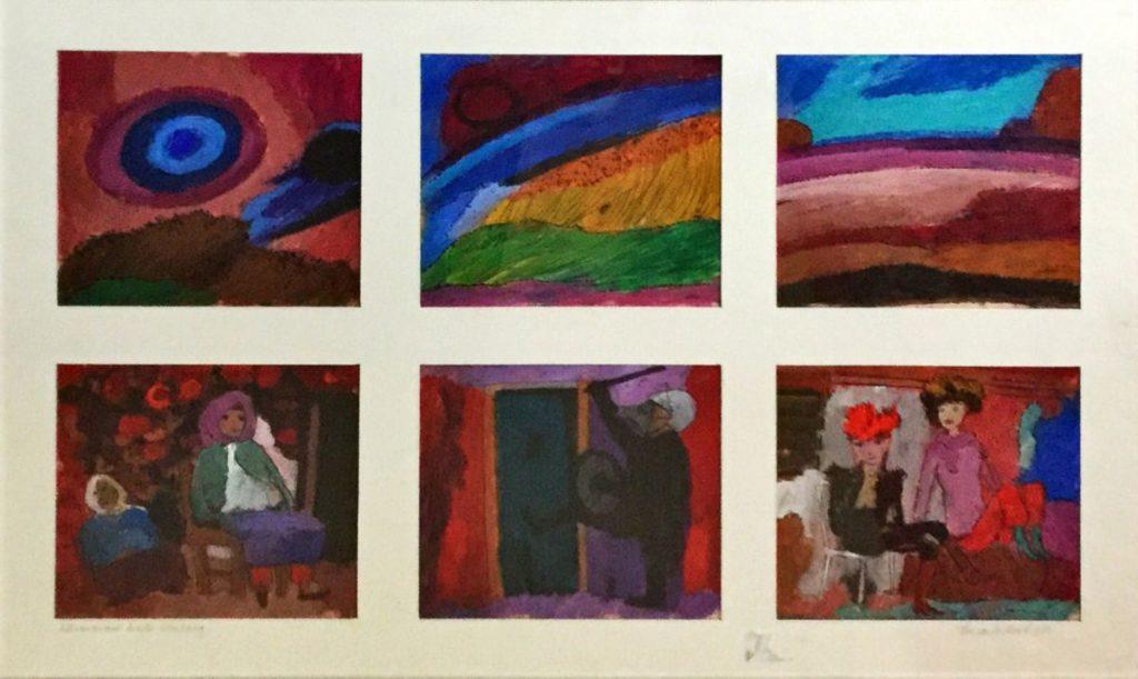 schilderijen te koop van kunstschilder, Theo van der Horst Het was zo mooi buiten vandaag zes ingelijste gouaches in 1 lijst elke gouache heeft een beeldmaat van 18,5 x 17 cm, buitenmaat lijst 51,5 x 66,5 cm gesigneerd, expositie, galerie wijdemeren breukeleveen