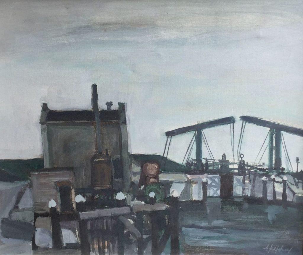 Schilderijen te koop van kunstschilder Brughuisje olie op doek, doekmaat 50,5 x 60 rechtsonder gesigneerd, Expositie Galerie Wijdemeren Breukeleveen