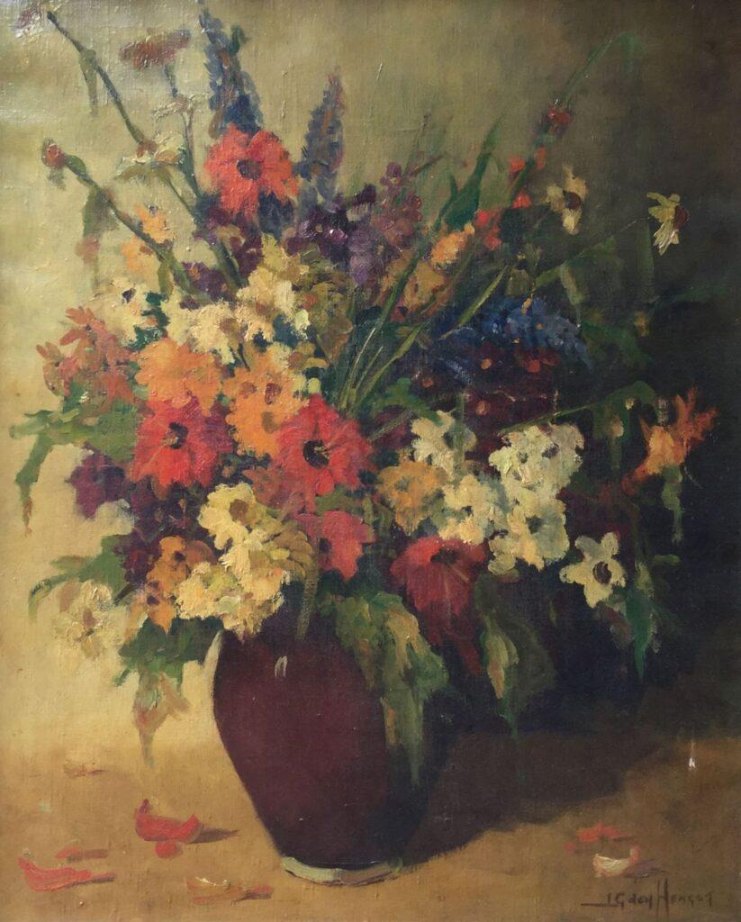 Schilderijen te koop, kunstschilder Jan de Hengst Bloemstilleven olie op doek, 63 x 76 cm rechtsonder gesigneerd, Expositie Galerie Wijdemeren Breukeleveen