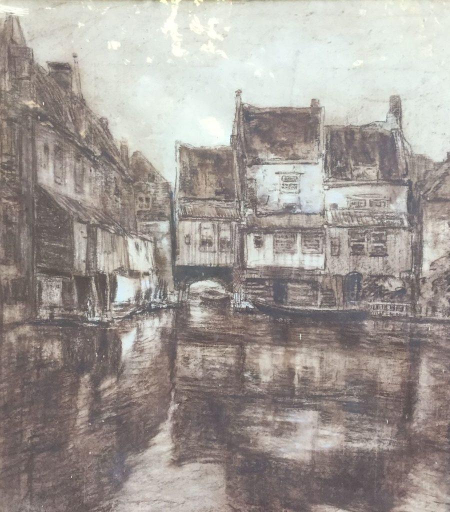 Schilderijen te koop van kunstschilder David Schulman Huizen aan het water gemengde techniek, beeldmaat 51.5 x 47 cm rechtsonder gesigneerd en gedateerd 26, Expositie Galerie Wijdemeren Breukeleveen
