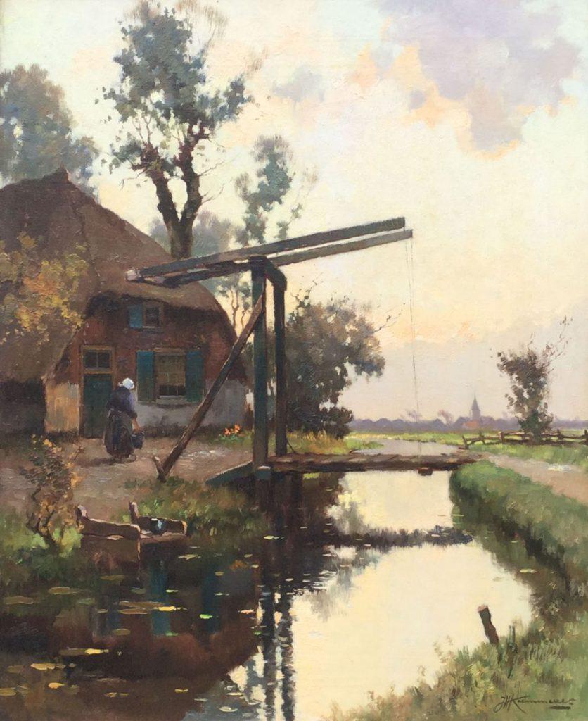 Schilderijen te koop van kunstschilder J.H. Kaemmerer Boerderij aan vaart met ophaalbrug olie op doek, doekmaat 60 x 50 cm rechtsonder gesigneerd, Expositie Galerie Wijdemeren Breukeleveen