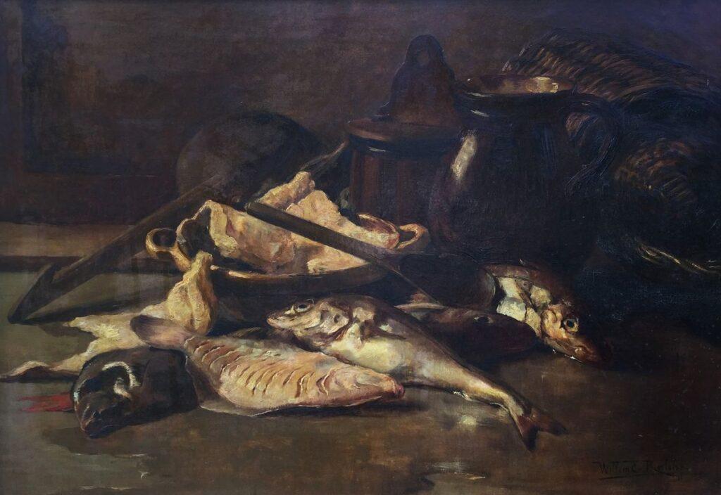 Kunstenaar Willem Elisa Roelofs jr. C3732, Willem Elisa Roelofs vissenstilleven olie op doek, 55 x 80 cm, r.o. gesigneerd