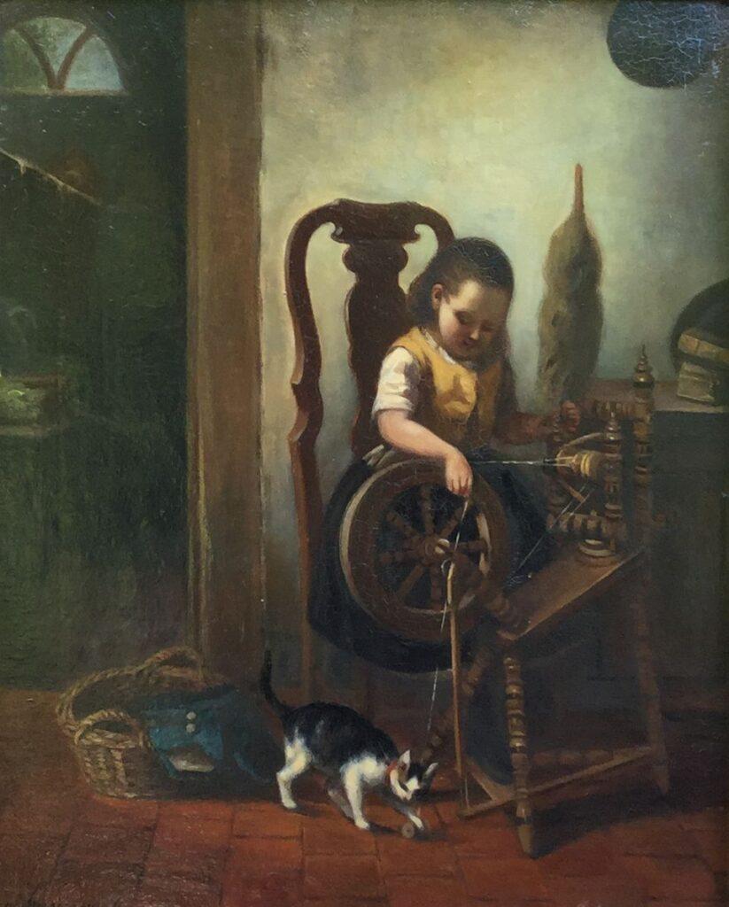 Kunstenaar Anna Maria Immerzeel C3736 Anna Maria Immerzeel Spelen met de poes olie op paneel, 27,5 x 34,5 cm linksonder gesigneerd
