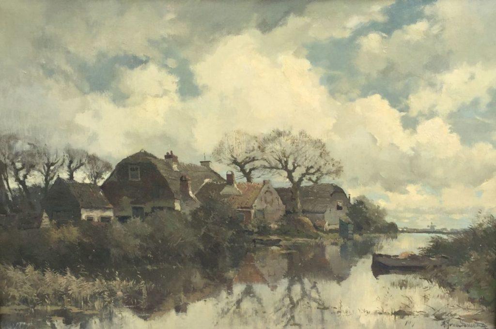 Schilderijen te koop, kunstschilder A.J. van Driesten Noorden bij Nieuwkoop olieverf op doek, 40,5 x 60 cm r.o. gesigneerd, expositie Galerie Wijdemeren Breukeleveen