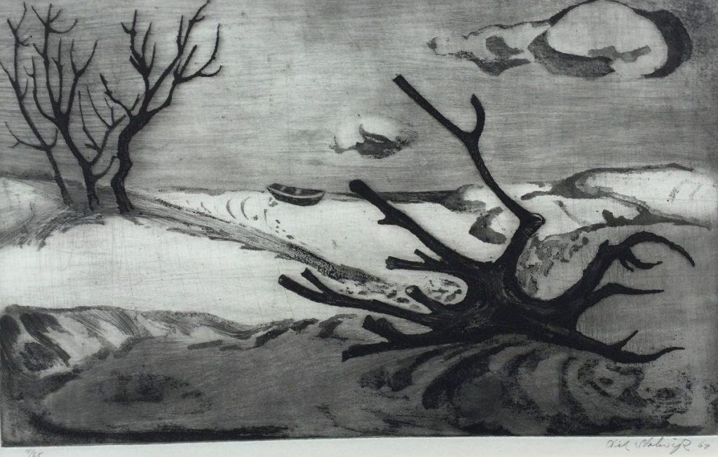 Kunst te koop bij Galerie Wijdemeren van kunstschilder Dick Stolwijk Woestijnlandschap met bomen ets, linksonder oplage 4/25, beeldmaat 19.5 x 30 cm rechtsonder handgesigneerd, gedateerd 62
