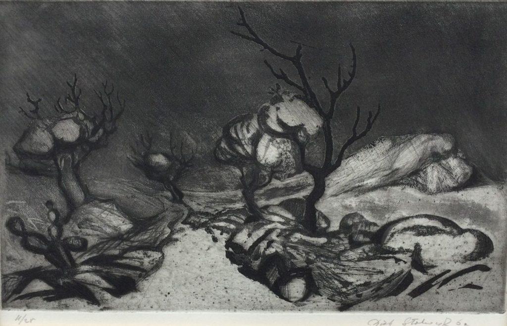 Kunst te koop bij Galerie Wijdemeren van kunstschilder Dick Stolwijk Woestijnlandschap met stenenpad ets, oplage 11/25,beeldmaat 16 x 25 cm gesigneerd rechtsonder, gedateerd 62