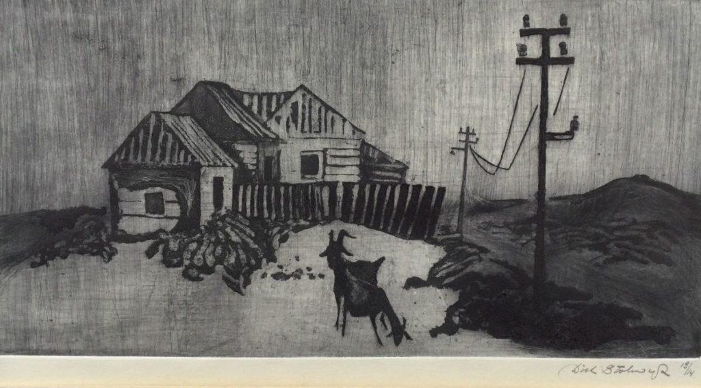 Kunst te koop bij Galerie Wijdemeren van kunstschilder Dick Stolwijk Geitjes bij de boerderij ets, oplage 13/14, beeldmaat 12.5 x 23.5 cm rechtsonder handgesigneerd