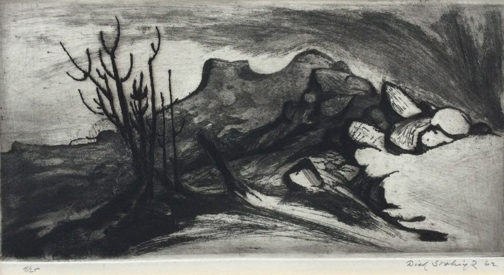 Kunst te koop bij Galerie Wijdemeren van kunstschilder Dick Stolwijk Woestijnlandschap ets, beeldmaat 13 x 25.5 cm, oplage 4/25 rechtsonder handgesigneerd, gedateerd 62