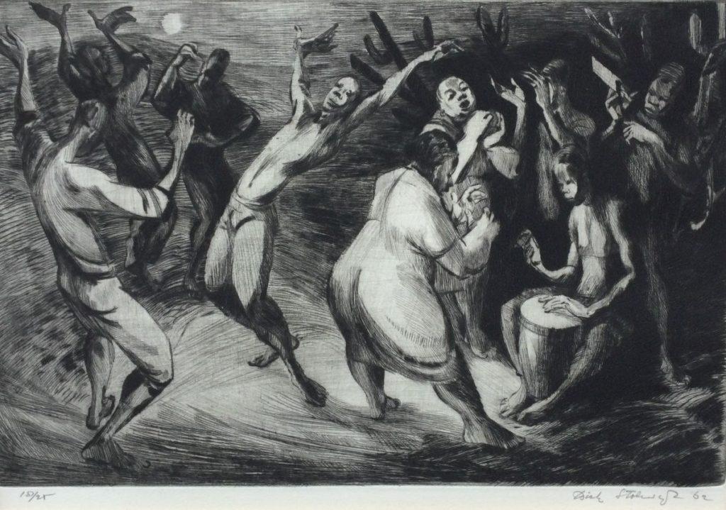 Kunst te koop bij Galerie Wijdemeren van kunstschilder Dick Stolwijk Trommelaars met dansende mensen ets, oplage 18/25, beeldmaat 21 x 30 cm rechtsonder handgesigneerd, gedateerd 62