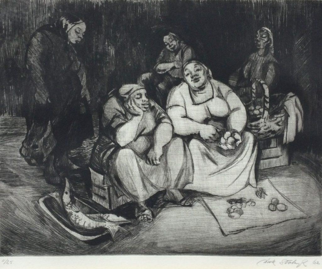 Kunst te koop bij Galerie Wijdemeren van kunstschilder Dick Stolwijk Dames aan het koken ets, 21 x 26 cm, oplage 11/25 gedateerd 62, rechtsonder handgesigneerd