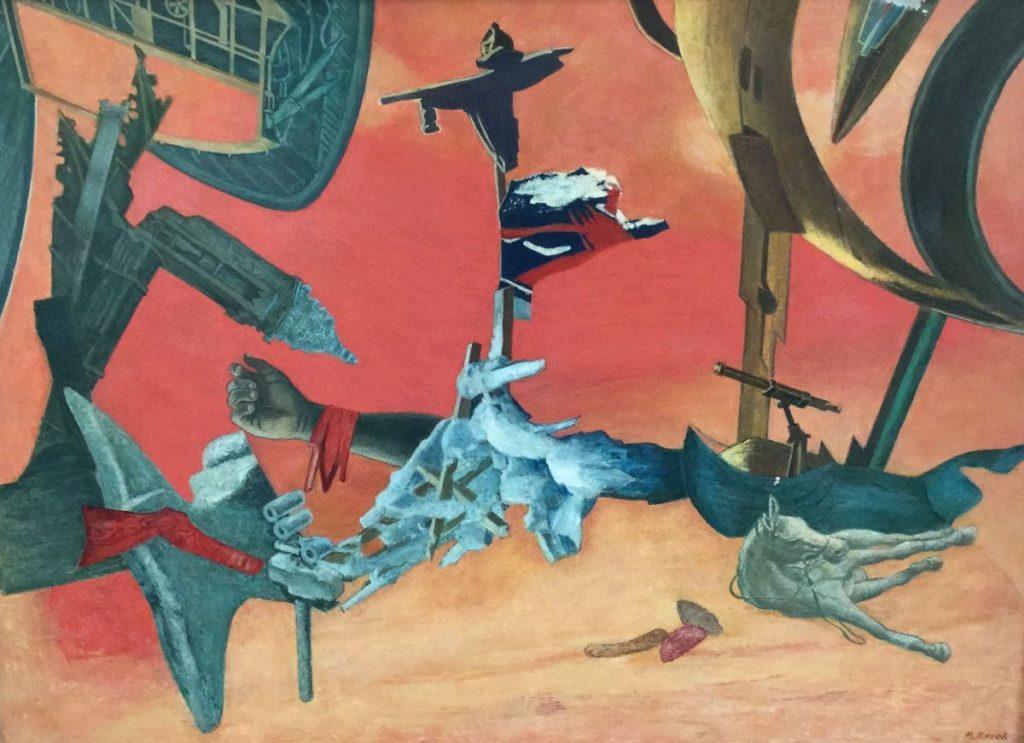 Schilderijen te koop van kunstschilder Mario Kriek surrealistische voorstelling met paard en andere objecten olie op doek, doekmaat 55 x 76 cm, expositie, Galerie Wijdemeren Breukeleveen