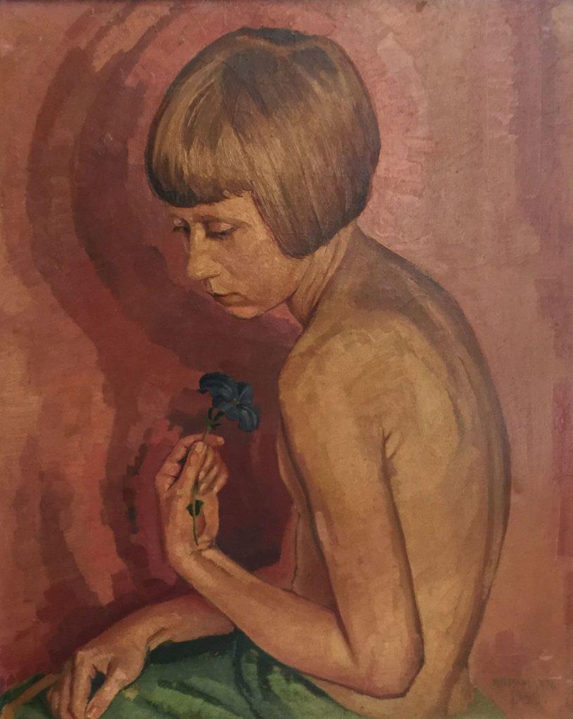 Kunst te koop bij Galerie Wijdemeren, P. Rissmann Kind met bloem olie op doek, 56 x 46 cm rechtsonder gesigneerd en gedateerd 1933
