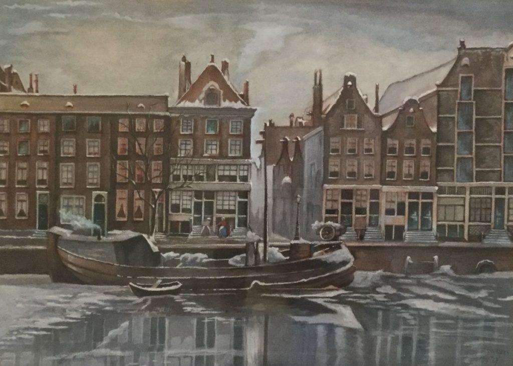 Schilderijen te koop van kunstschilder F. Wolters Amsterdamse gracht in de winter Aquarel en gouache op papier, beeldmaat 32 x 45 cm r.o. gesigneerd en gedateerd 67, Expositie Galerie Wijdemeren Breukeleveen