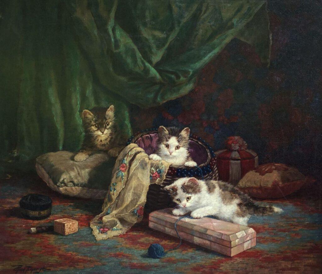 Schilderijen te koop van kunstschilder Cornelis Raaphorst drie kittens in interieur olie op doek, doekmaat 55.5 x 65.5 cm linksonder gesigneerd, Expositie Galerie Wijdemeren Breukeleveen