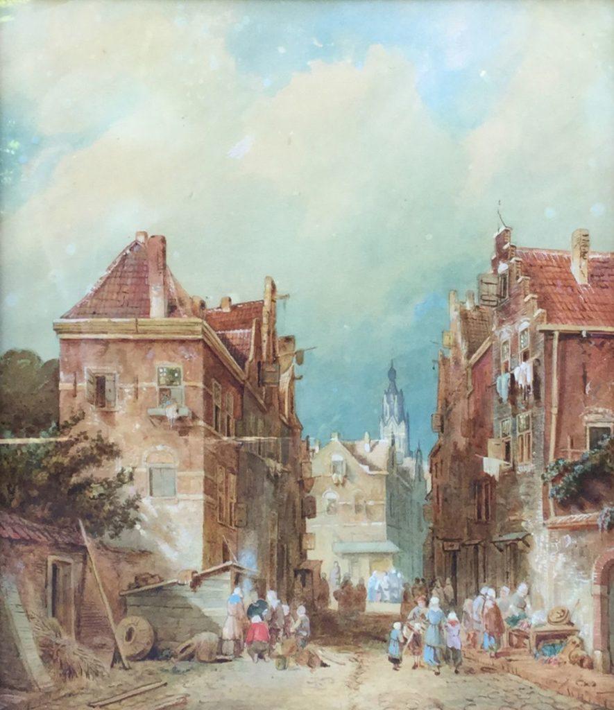 C3768 Charles Leickert Dorpsstraat Aquarel op papier 33 x 29 ongesigneerd particuliere collectie te koop bij Galerie Wijdemeren Breukeleveen, Schilderijen, Expositie