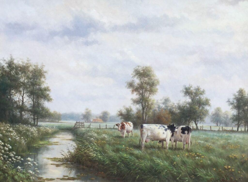 Kunstenaar Ron Meilof C3776 Ron Meilof koeien aan de waterkant olie op paneel, 60 x 80 cm verkocht
